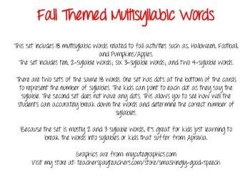 Fall Themed Multisyllabic Words