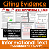 Informational Text Dependent Questions Using Claims Details Fall {Common Core}