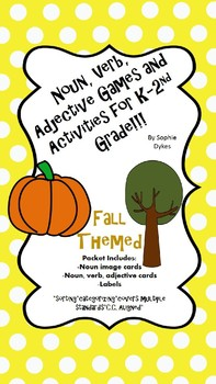 Fall Themed Noun Verb Adjective Packet for K-2