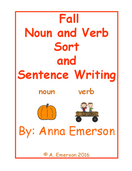 Fall Themed Noun and Verb Sort