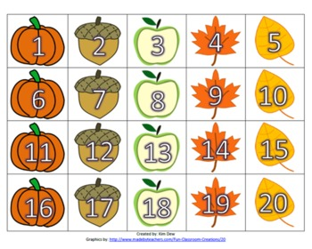 Fall Themed Number Cards 1-20