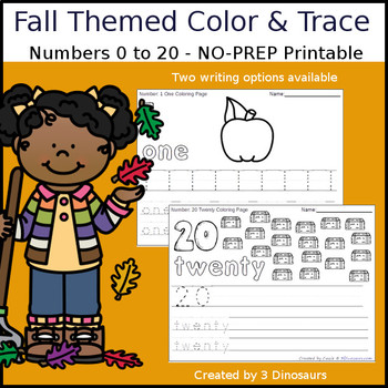 Fall Themed Number Color and Trace