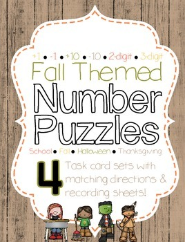 *Fall Themed* Number Puzzles +10 -10 +1 -1 ~Task Cards~