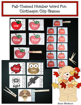 Fall-Themed Number Word Fun: Clothespin Clip Games