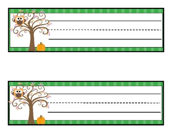 Fall Themed Owl Name Tags