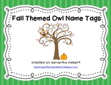 Fall Themed Owl Name Tags