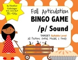 Fall Themed, P Sound Articulation BINGO for Syllable Level
