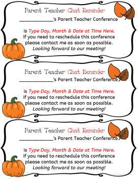 Editable Fall Themed Parent Conference Reminder