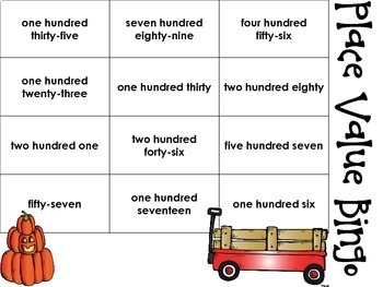 Fall Themed Place Value Bingo Matching Word Form to 3 Digit Numbers