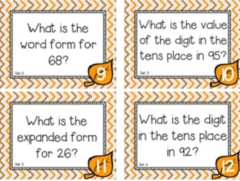 Fall Themed Place Value Task Cards Level 1 Tens & Ones