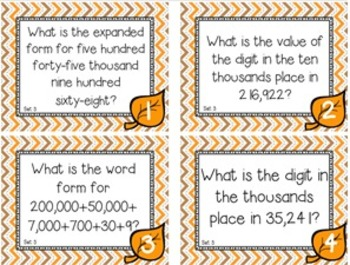 Fall Themed Place Value Task Cards Level 3 Thousands, Hundreds, Tens, & Ones