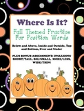 """Fall Themed """"Position Words"""" Practice"""