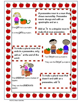 Fall Themed Possessive Noun Unit