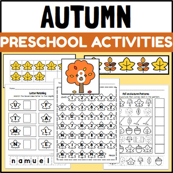 Fall Themed PreK and Kindergarten Art, Math and ELA Centers and Activities