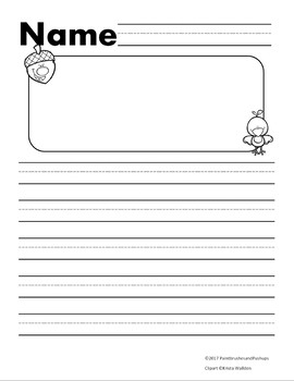 Fall Themed Primary Writing Template Acorn and Chick