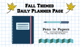 Fall-Themed Printable Inspirational Daily Planner Page - Falling Maple Leaves