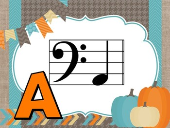 Fall Themed Projectable Note Identification Flashcards Bass Clef