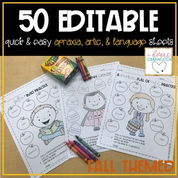 Fall Themed Quick & Easy Speech and Language Sheets
