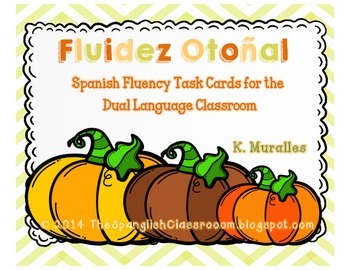 Fall Themed Repeated Reading Task Cards en Español