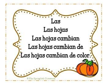 Fall Themed Repeated Reading Task Cards en Español