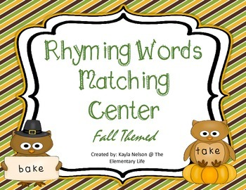 Fall Themed Rhyming Words Center