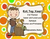 """Fall Themed """"Roll, Say, Keep!"""" Game, Center, Printables  Common Core"""