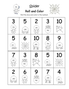 Fall Themed Roll and Color Numbers 2-10