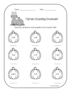 Fall Themed Rounding Decimals Practice