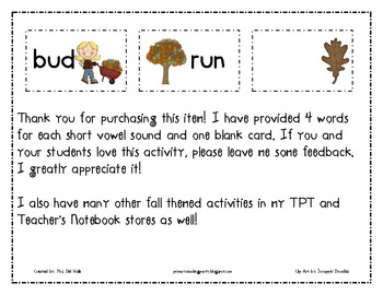 Fall Themed Short Vowel Word Sort