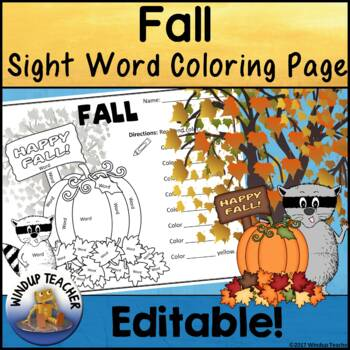 Fall Themed Sight Word Activity Sheet  *Editable*