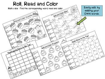 Fall Sight Word Printable Games {Editable!}
