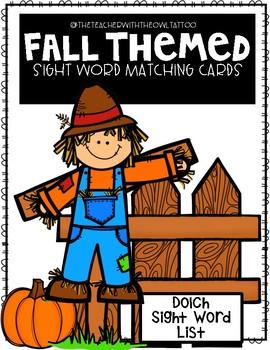 Fall Themed Sight Word Matching