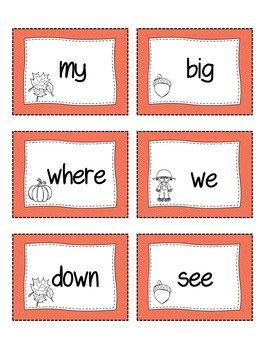 Fall Themed Sight Words (Colored)