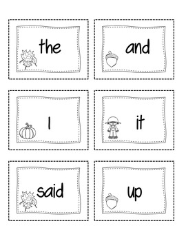 Fall Themed Sight Words (Black & White)