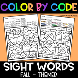 Fall Sight Words   No Prep Color By Code Activities