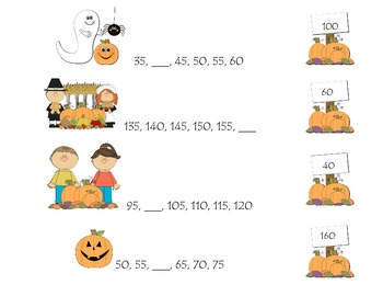 Fall Themed Skip Count by 5