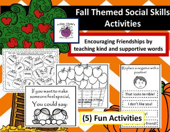 Fall Themed Social Skills Activities  Encouraging Positive Friendships    ASD