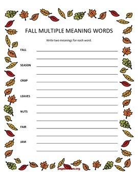 Fall Themed Speech/Language Worksheets