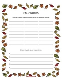 Fall Themed Speech/Language Worksheets