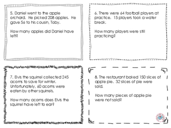 Fall-Themed Subtraction Word Problems Task Cards