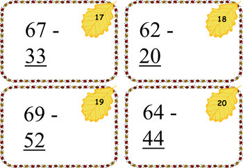 Fall Themed Subtraction to 99 Cards - Without Regrouping