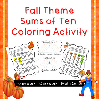 Fall Themed--Sums of 10 coloring activity--Secure fact fam