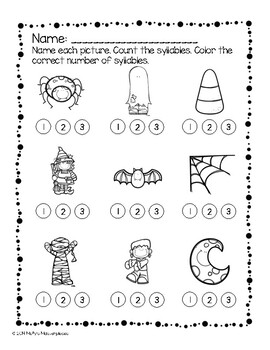 Fall Themed Syllable Counting