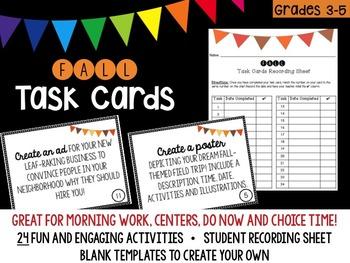 Fall (Autumn) Themed Task Cards