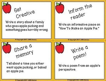 Fall Themed Task Cards-For Writing