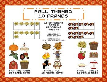 Fall Themed Ten Frames: 18 Sets