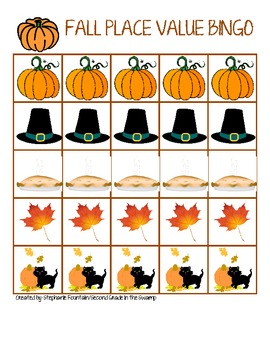 Fall Themed Thanksgiving Place Value Bingo