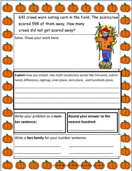 Fall Themed Three Digit Subtraction Story Problems w Regrouping 3.NBT.1 3.NBT.2