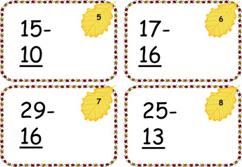 Fall Themed Two Digit Addition and Subtraction Cards