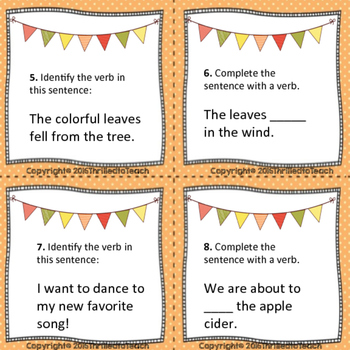 Fall Themed Verb Task Cards